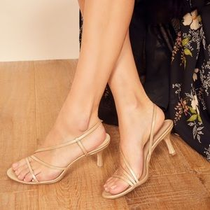 Reformation Marylou Strappy Gold Heeled Sandals  9